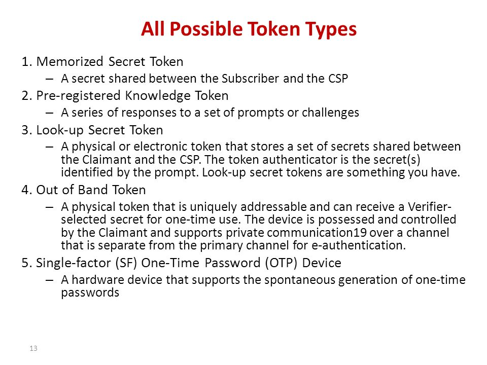 All Possible Token Types 1.