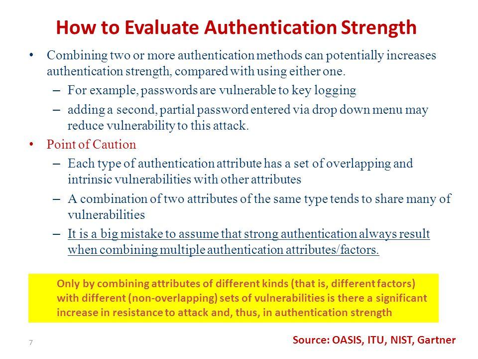 NIST: Assurance Levels for Multi-Token E-Authentication Schemes 18
