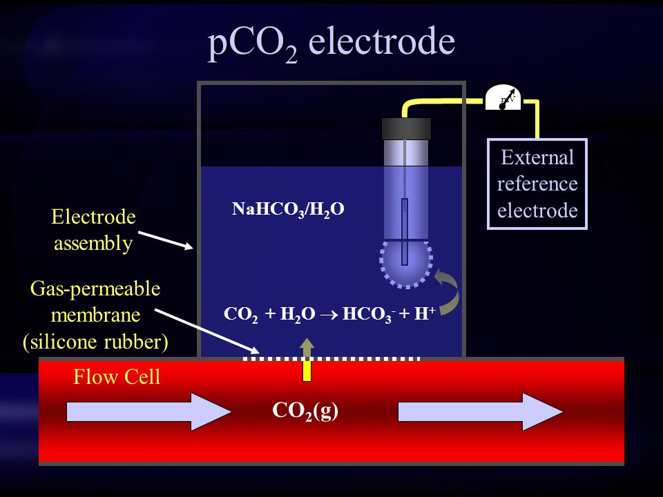pCO 2 electrode mV External reference electrode CO 2 (g) Flow Cell Electrode assembly Gas-permeable membrane (silicone rubber) NaHCO 3 /H 2 O CO 2 + H