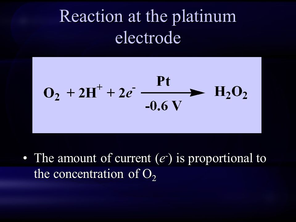 Reaction at the platinum electrode The amount of current (e - ) is proportional to the concentration of O 2