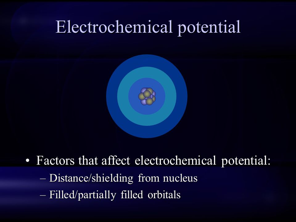 Electrochemical potential Factors that affect electrochemical potential: –Distance/shielding from nucleus –Filled/partially filled orbitals Factors th