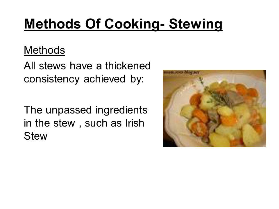 Methods Of Cooking- Braising Brown Braising Joints are then placed on a bed of root vegetables in a braising pan, with the liquid and other flavourings, covered with a lid and cooked slowly in the oven.