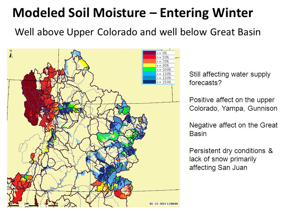 Well above Upper Colorado and well below Great Basin Still affecting water supply forecasts.