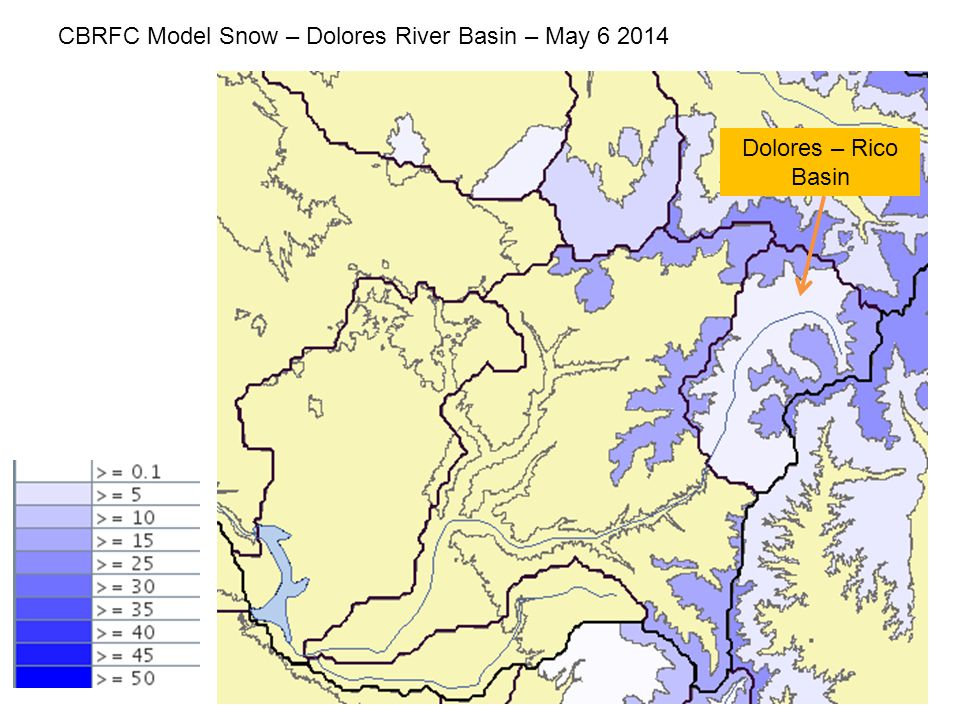 CBRFC Model Snow – Dolores River Basin – May 6 2014 Dolores – Rico Basin