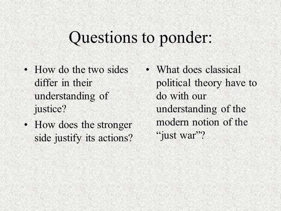 Questions to ponder: How do the two sides differ in their understanding of justice.