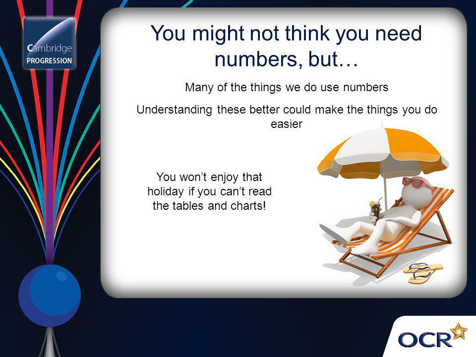 You might not think you need numbers, but… You won't enjoy that holiday if you can't read the tables and charts! Many of the things we do use numbers