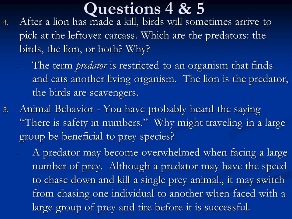 Questions 4 & 5 4. After a lion has made a kill, birds will sometimes arrive to pick at the leftover carcass. Which are the predators: the birds, the