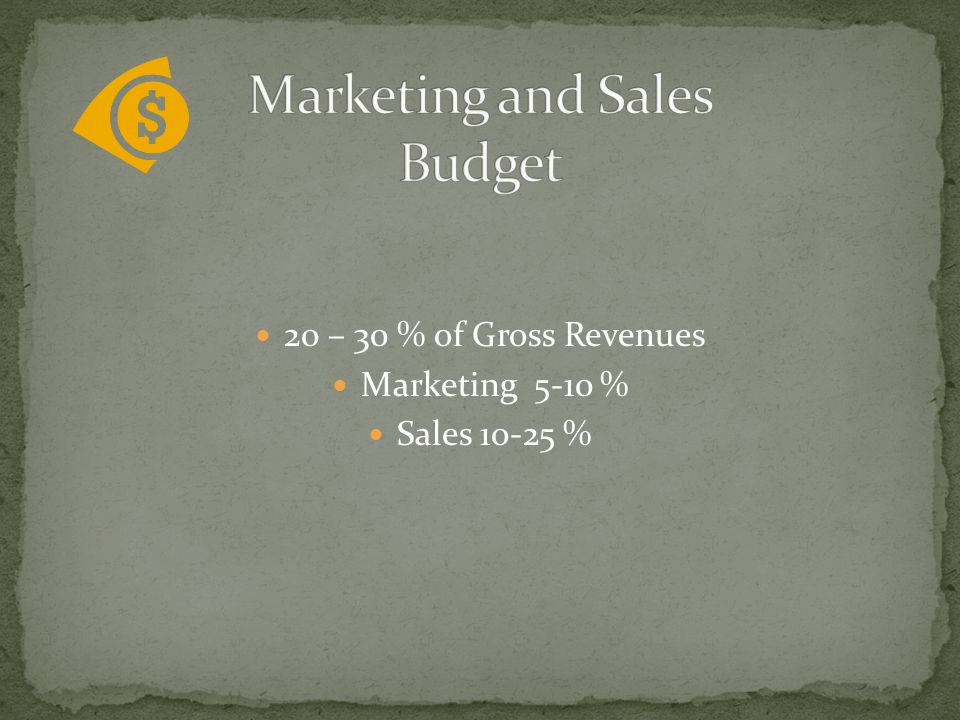 20 – 30 % of Gross Revenues Marketing 5-10 % Sales 1o-25 %