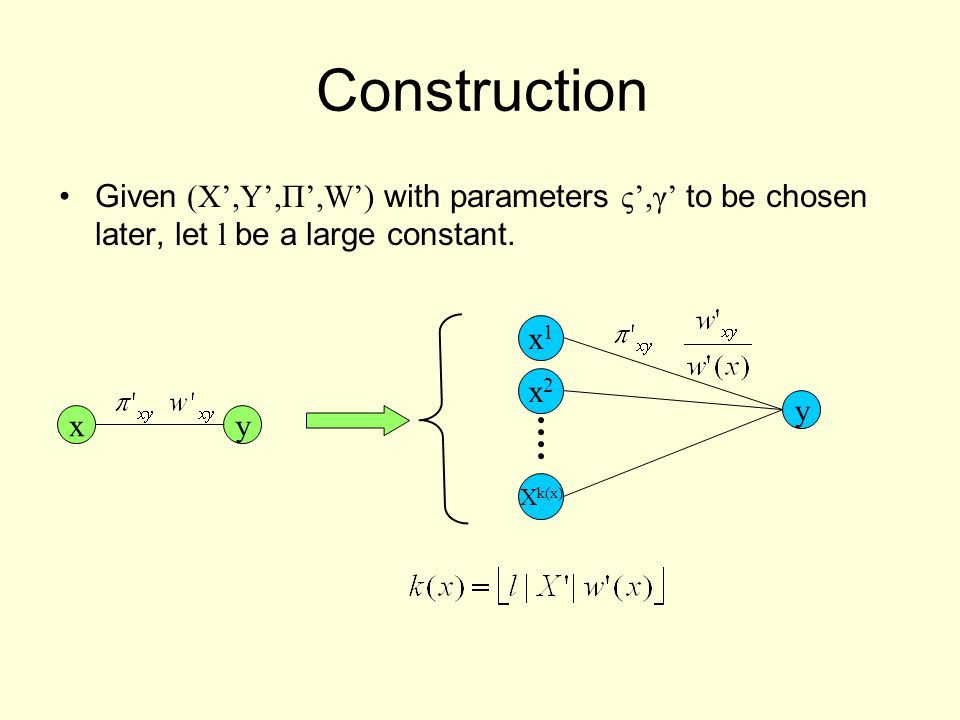 Construction Given (X',Y',Π',W') with parameters ς',γ' to be chosen later, let l be a large constant.
