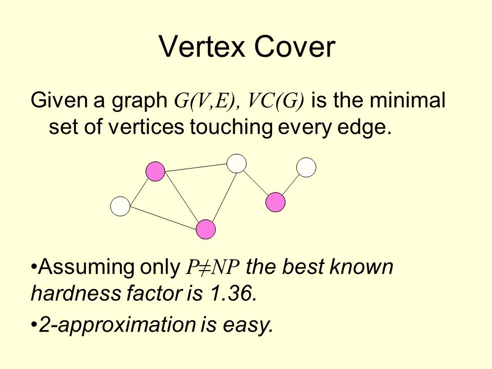 Given a graph G(V,E), VC(G) is the minimal set of vertices touching every edge.