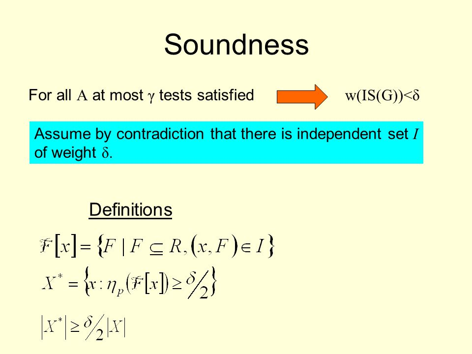 Soundness For all A at most γ tests satisfied w(IS(G))<δ Assume by contradiction that there is independent set I of weight δ.