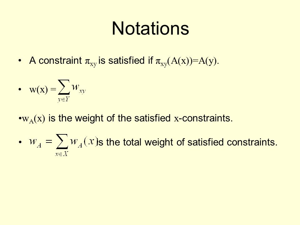 Notations A constraint π xy is satisfied if π xy )A(x))=A(y).