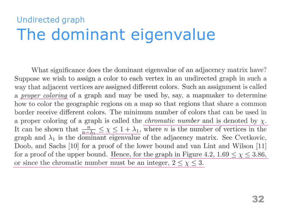 Undirected graph The dominant eigenvalue 32