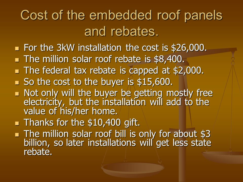 Cost of the embedded roof panels and rebates. For the 3kW installation the cost is $26,000. For the 3kW installation the cost is $26,000. The million