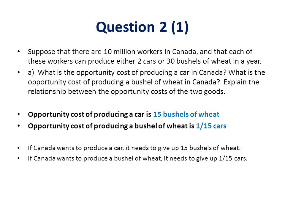 Suppose that there are 10 million workers in Canada, and that each of these workers can produce either 2 cars or 30 bushels of wheat in a year.