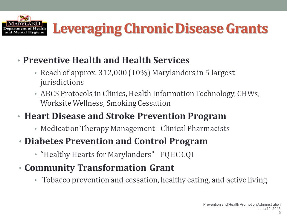 Prevention and Health Promotion Administration June 19, 2013 10 Leveraging Chronic Disease Grants Preventive Health and Health Services Reach of appro