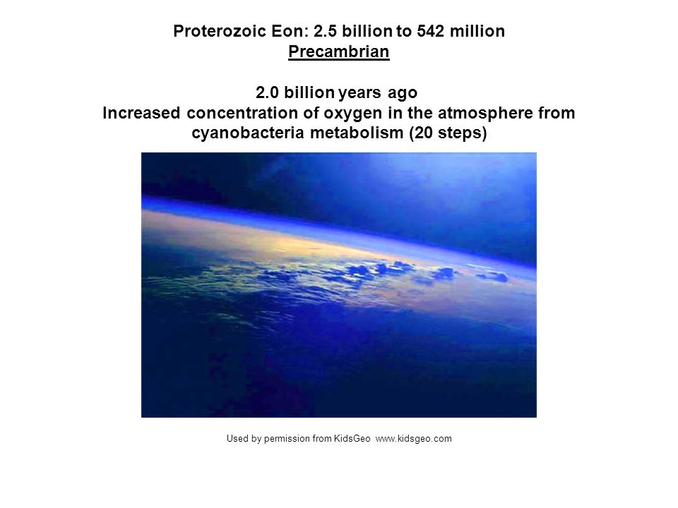 Proterozoic Eon: 2.5 billion to 542 million Precambrian 2.0 billion years ago Increased concentration of oxygen in the atmosphere from cyanobacteria m