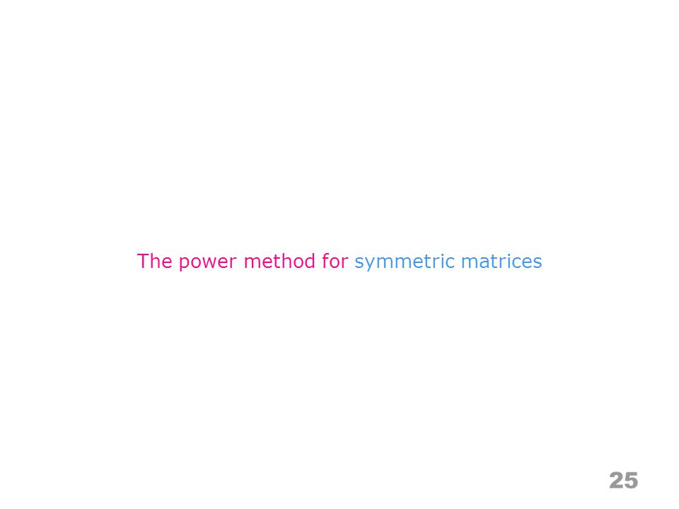 25 The power method for symmetric matrices