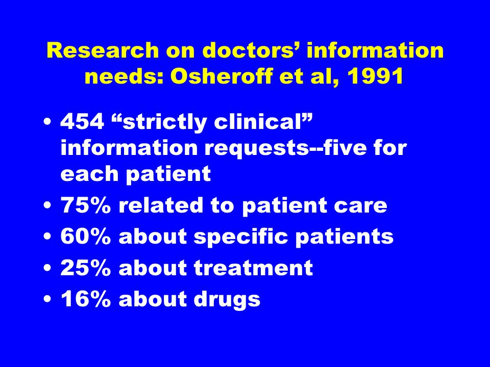 Research on doctors' information needs: Osheroff et al, strictly clinical information requests--five for each patient 75% related to patient care 60% about specific patients 25% about treatment 16% about drugs