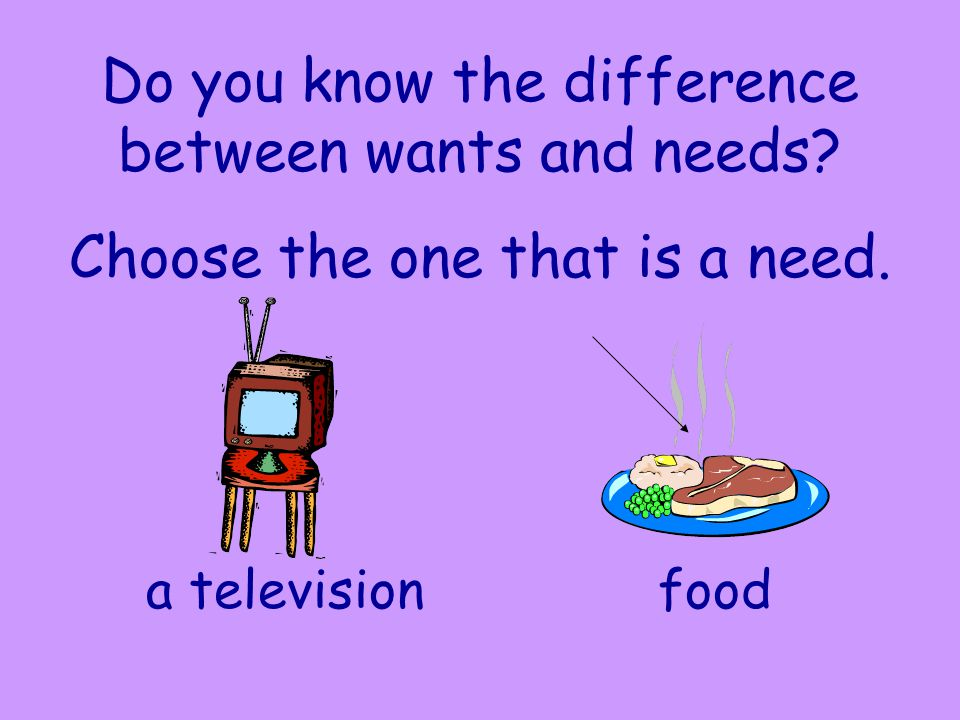 Do you know the difference between wants and needs? Choose the one that is a need. a televisionfood