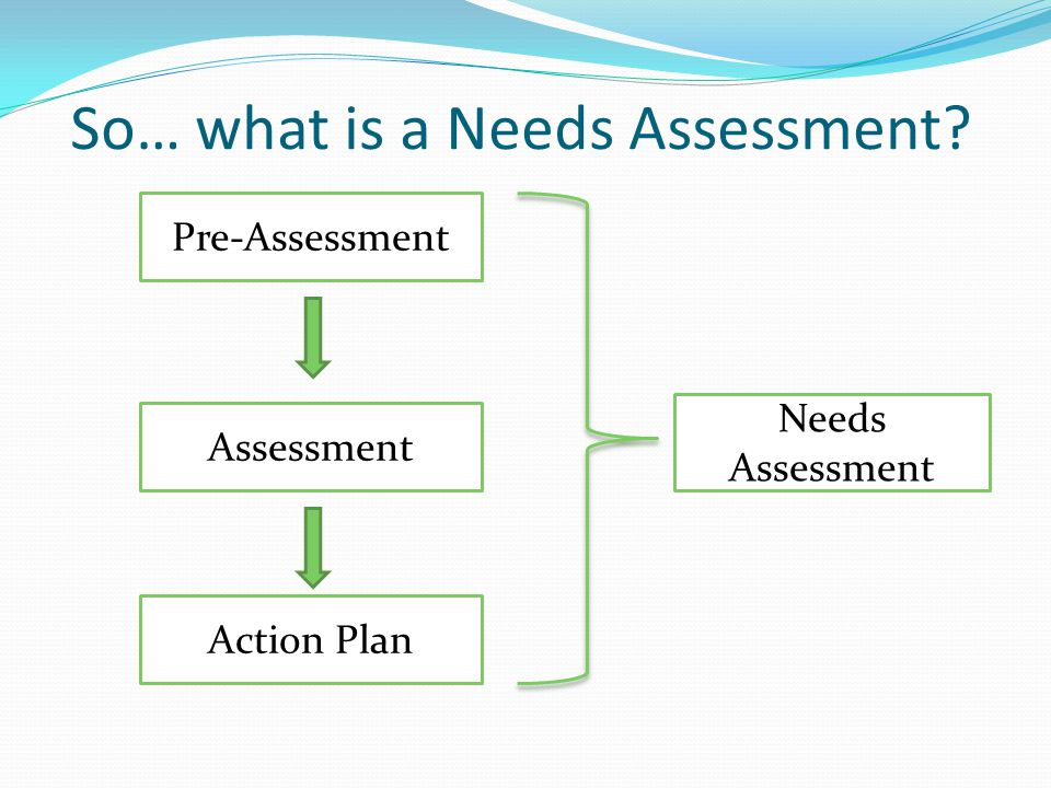 So… what is a Needs Assessment? Pre-Assessment Assessment Action Plan Needs Assessment