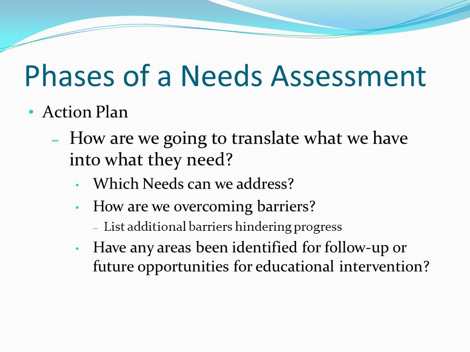 Phases of a Needs Assessment Action Plan – How are we going to translate what we have into what they need.