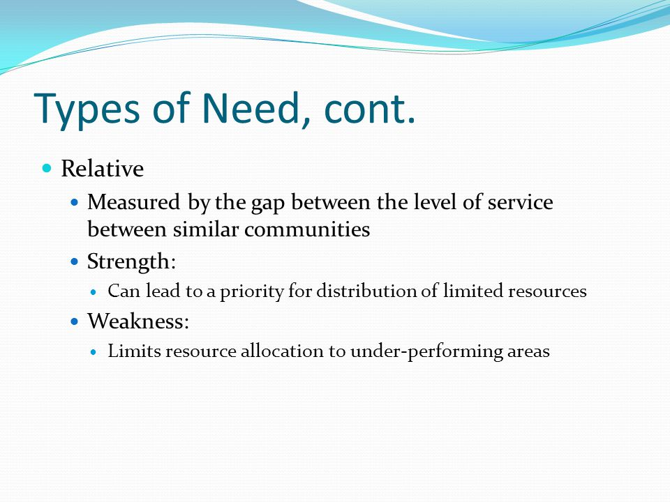 Types of Need, cont.