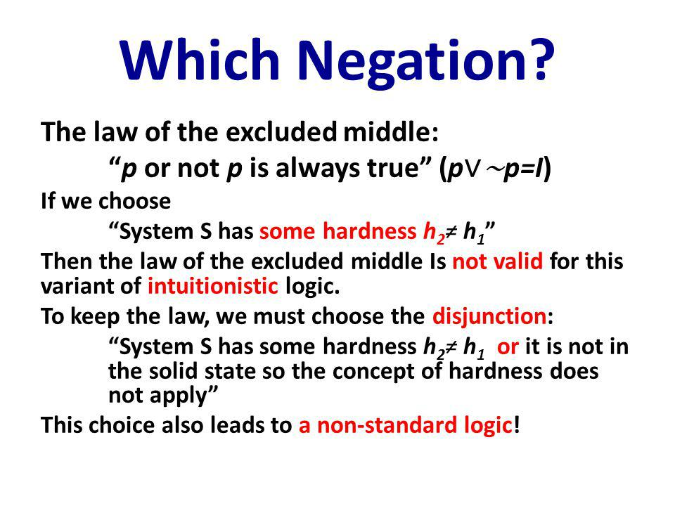 "Which Negation? The law of the excluded middle: ""p or not p is always true"" (p ∨∼ p=I) If we choose ""System S has some hardness h 2 ≠ h 1 "" Then the l"