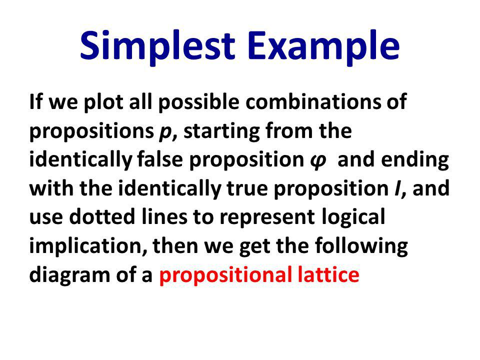 Simplest Example If we plot all possible combinations of propositions p, starting from the identically false proposition ϕ and ending with the identically true proposition I, and use dotted lines to represent logical implication, then we get the following diagram of a propositional lattice