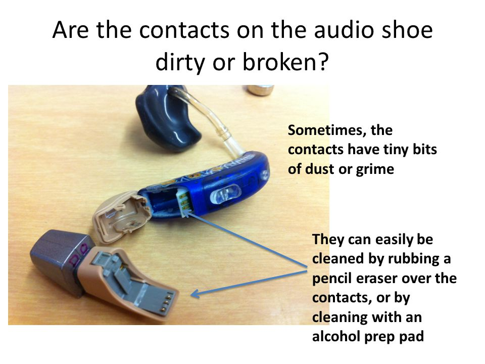 Are the contacts on the audio shoe dirty or broken.