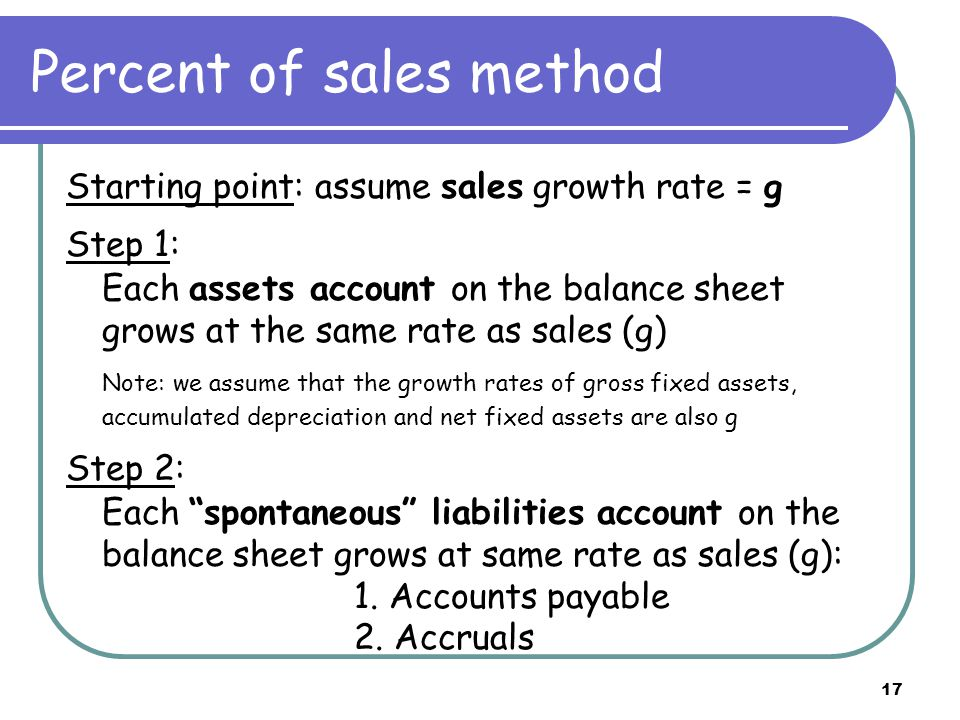 17 Percent of sales method Starting point: assume sales growth rate = g Step 1: Each assets account on the balance sheet grows at the same rate as sales (g) Note: we assume that the growth rates of gross fixed assets, accumulated depreciation and net fixed assets are also g Step 2: Each spontaneous liabilities account on the balance sheet grows at same rate as sales (g): 1.