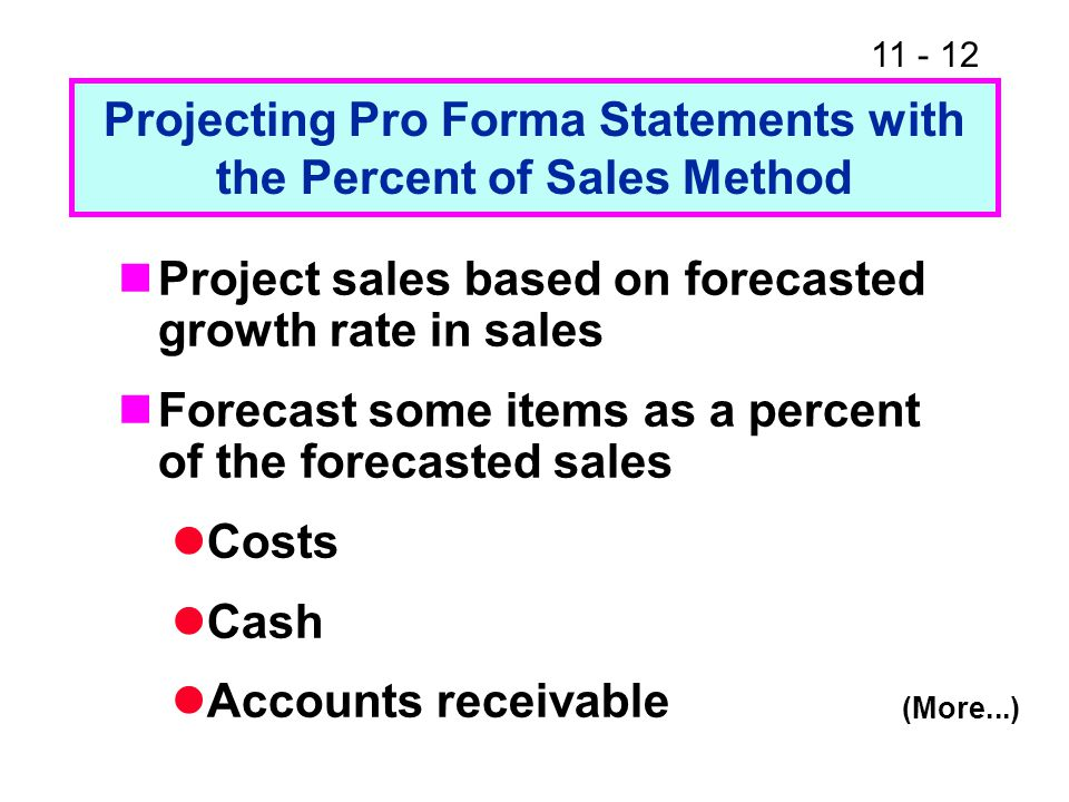11 - 13 Items as percent of sales (Continued...) Inventories Net fixed assets Accounts payable and accruals Choose other items Debt Dividend policy (which determines retained earnings) Common stock
