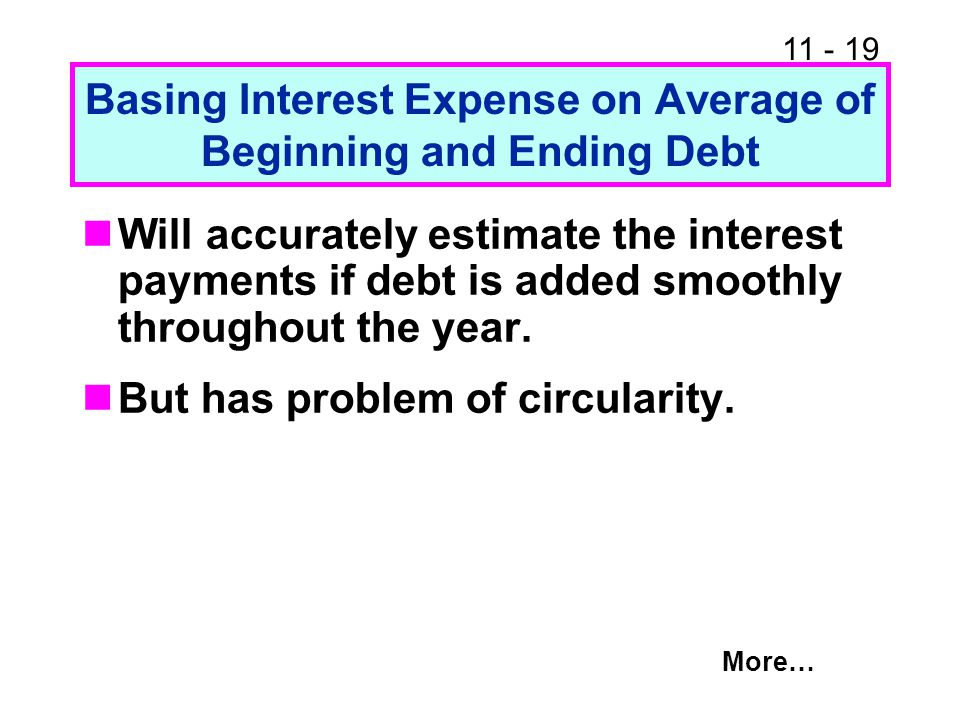 11 - 20 A Solution that Balances Accuracy and Complexity Base interest expense on beginning debt, but use a slightly higher interest rate.