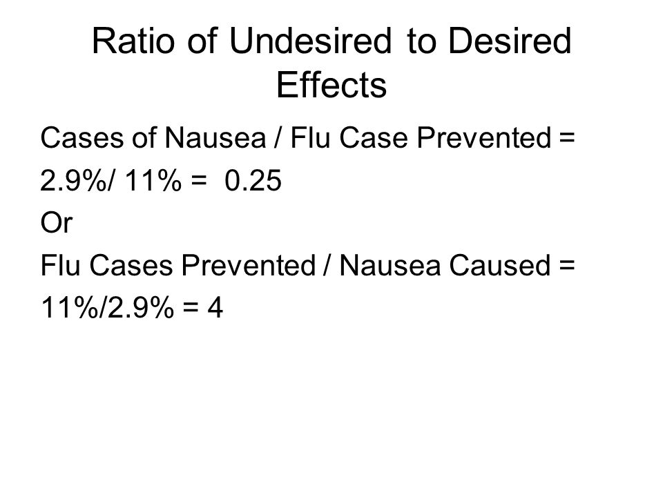 Ratio of Undesired to Desired Effects Cases of Nausea / Flu Case Prevented = 2.9%/ 11% = 0.25 Or Flu Cases Prevented / Nausea Caused = 11%/2.9% = 4