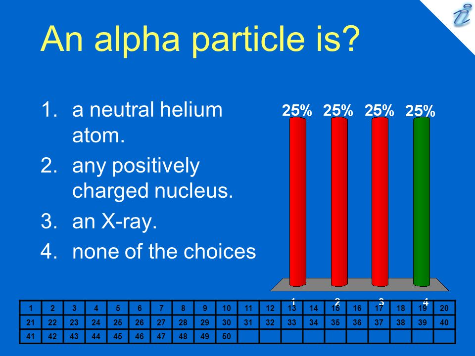 An alpha particle is? 1234567891011121314151617181920 2122232425262728293031323334353637383940 41424344454647484950 1.a neutral helium atom. 2.any pos