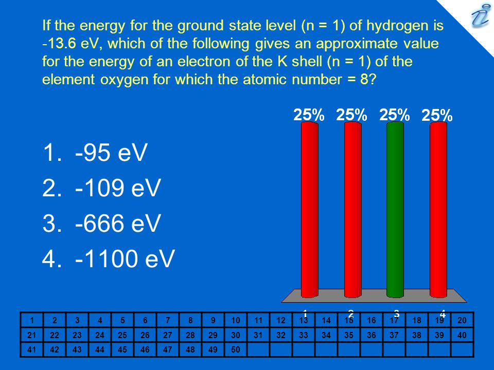 If the energy for the ground state level (n = 1) of hydrogen is -13.6 eV, which of the following gives an approximate value for the energy of an elect