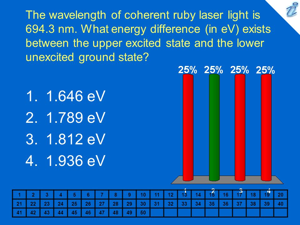 The wavelength of coherent ruby laser light is 694.3 nm. What energy difference (in eV) exists between the upper excited state and the lower unexcited