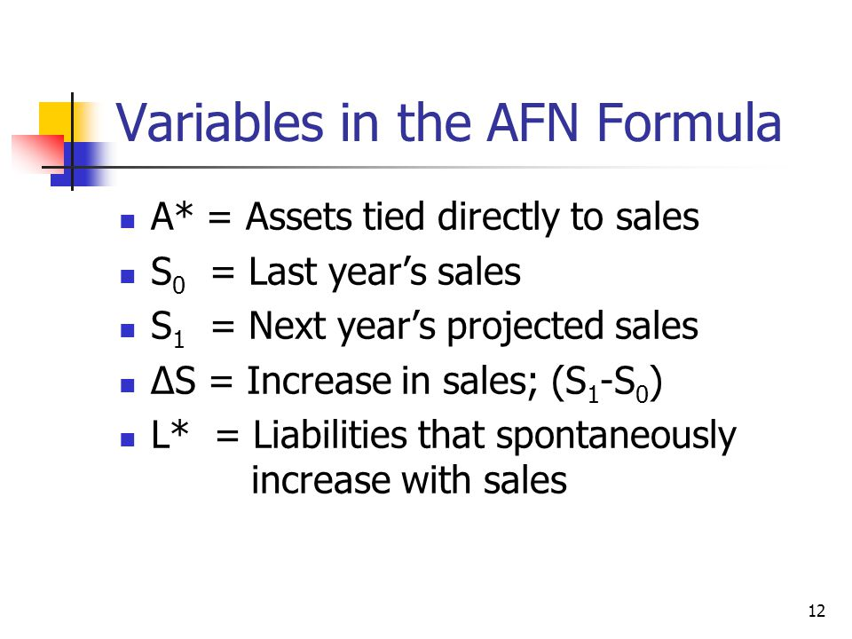 12 Variables in the AFN Formula A* = Assets tied directly to sales S 0 = Last year's sales S 1 = Next year's projected sales ∆S = Increase in sales; (