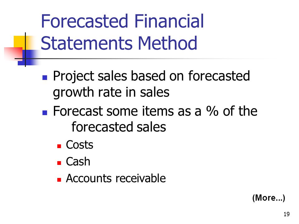 19 Forecasted Financial Statements Method Project sales based on forecasted growth rate in sales Forecast some items as a % of the forecasted sales Co