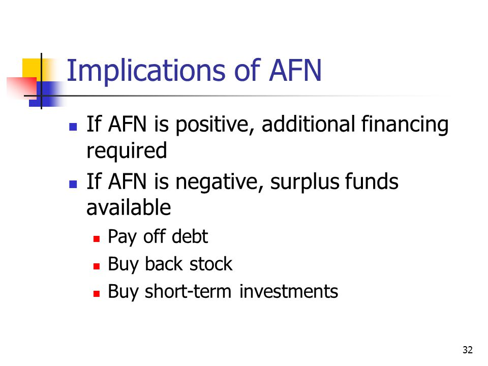 32 Implications of AFN If AFN is positive, additional financing required If AFN is negative, surplus funds available Pay off debt Buy back stock Buy s