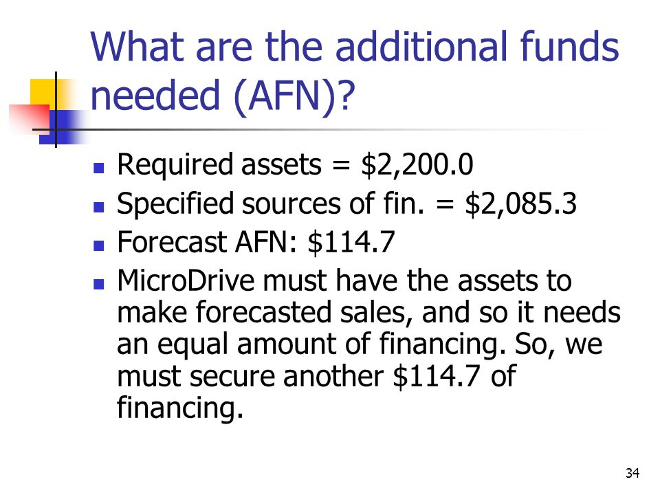 34 What are the additional funds needed (AFN)? Required assets = $2,200.0 Specified sources of fin. = $2,085.3 Forecast AFN: $114.7 MicroDrive must ha