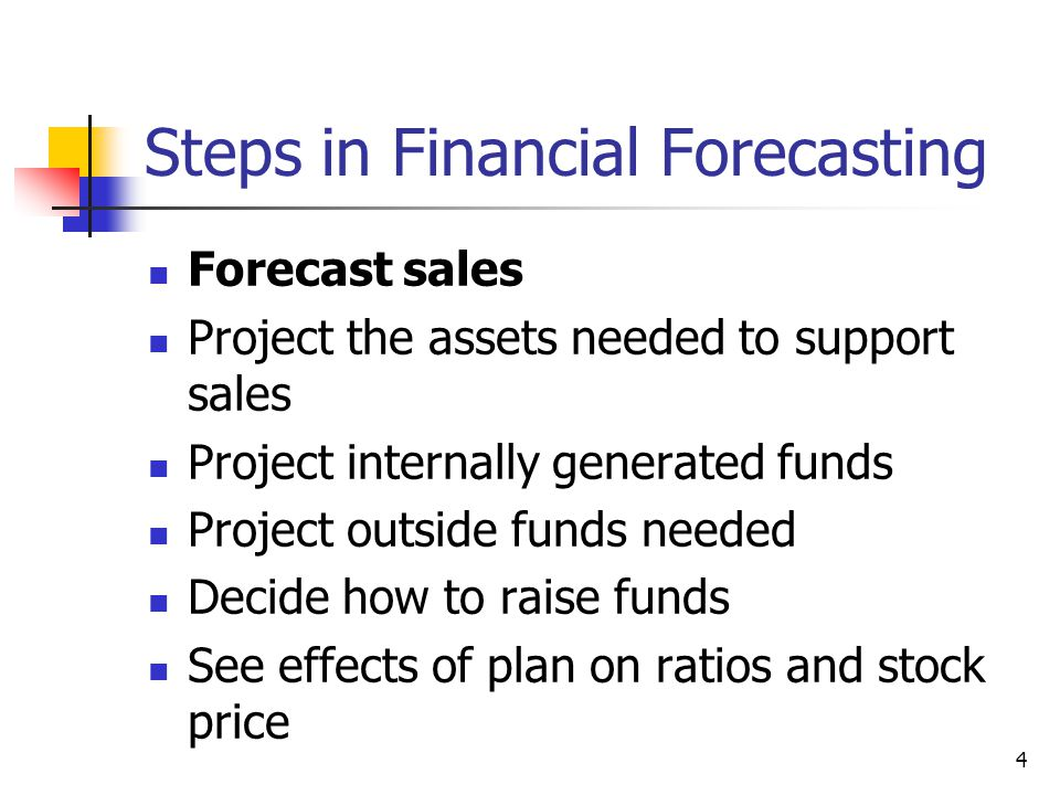 4 Steps in Financial Forecasting Forecast sales Project the assets needed to support sales Project internally generated funds Project outside funds ne