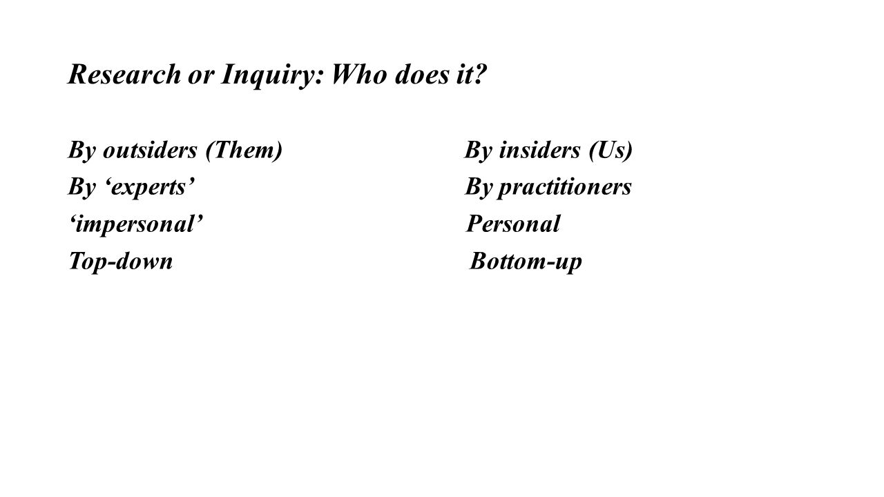 Research or Inquiry: Who does it? By outsiders (Them) By insiders (Us) By 'experts' By practitioners 'impersonal' Personal Top-down Bottom-up