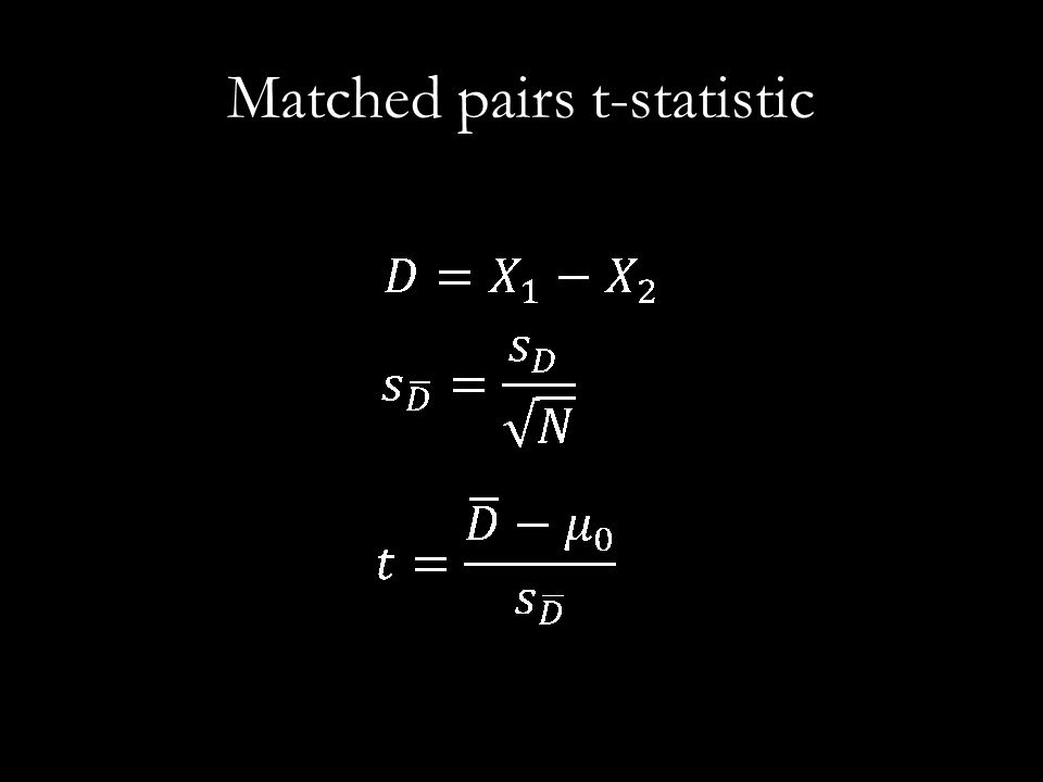 Matched pairs t-statistic