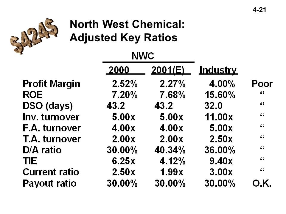 4-21 North West Chemical: Adjusted Key Ratios