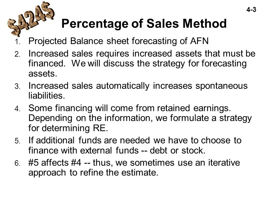 4-14 : Forecasted total assets=$1,250 : Forecasted total claims=$1,071 : Forecast AFN 1 =$ 179 NWC must have the assets to make forecasted sales.