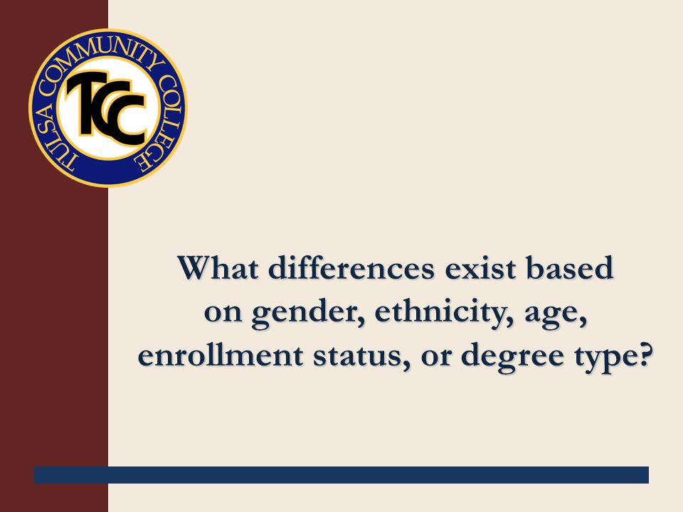 What differences exist based on gender, ethnicity, age, enrollment status, or degree type?