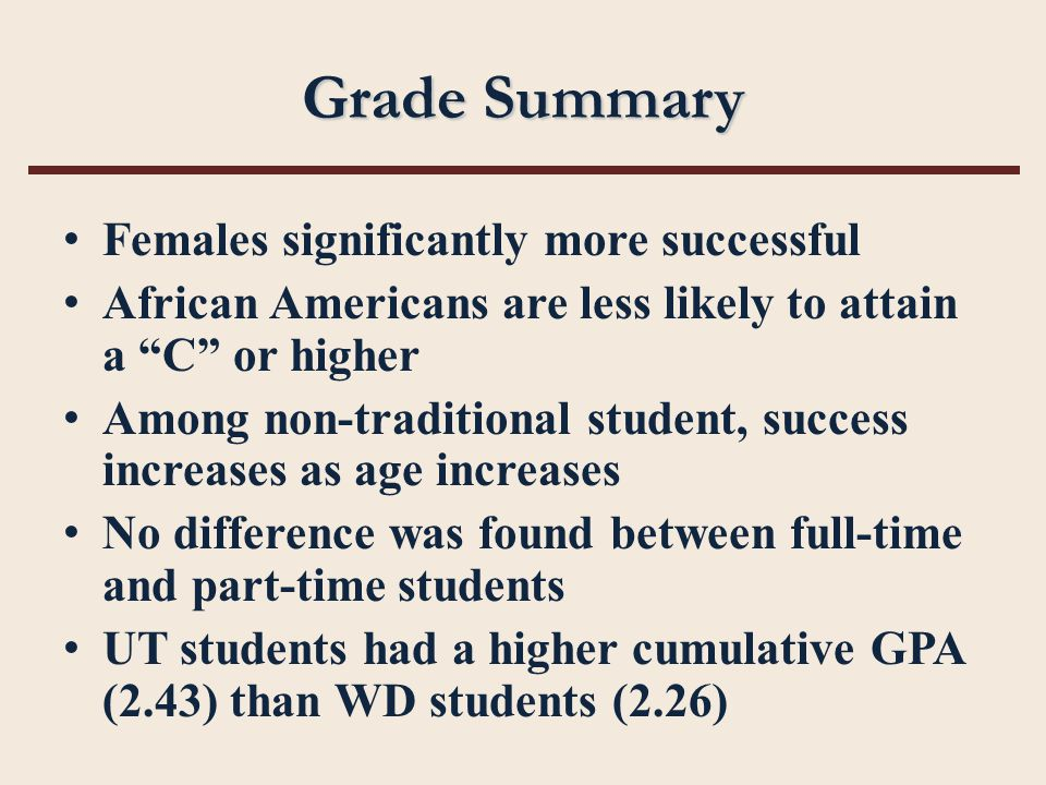 "Grade Summary Females significantly more successful African Americans are less likely to attain a ""C"" or higher Among non-traditional student, success"