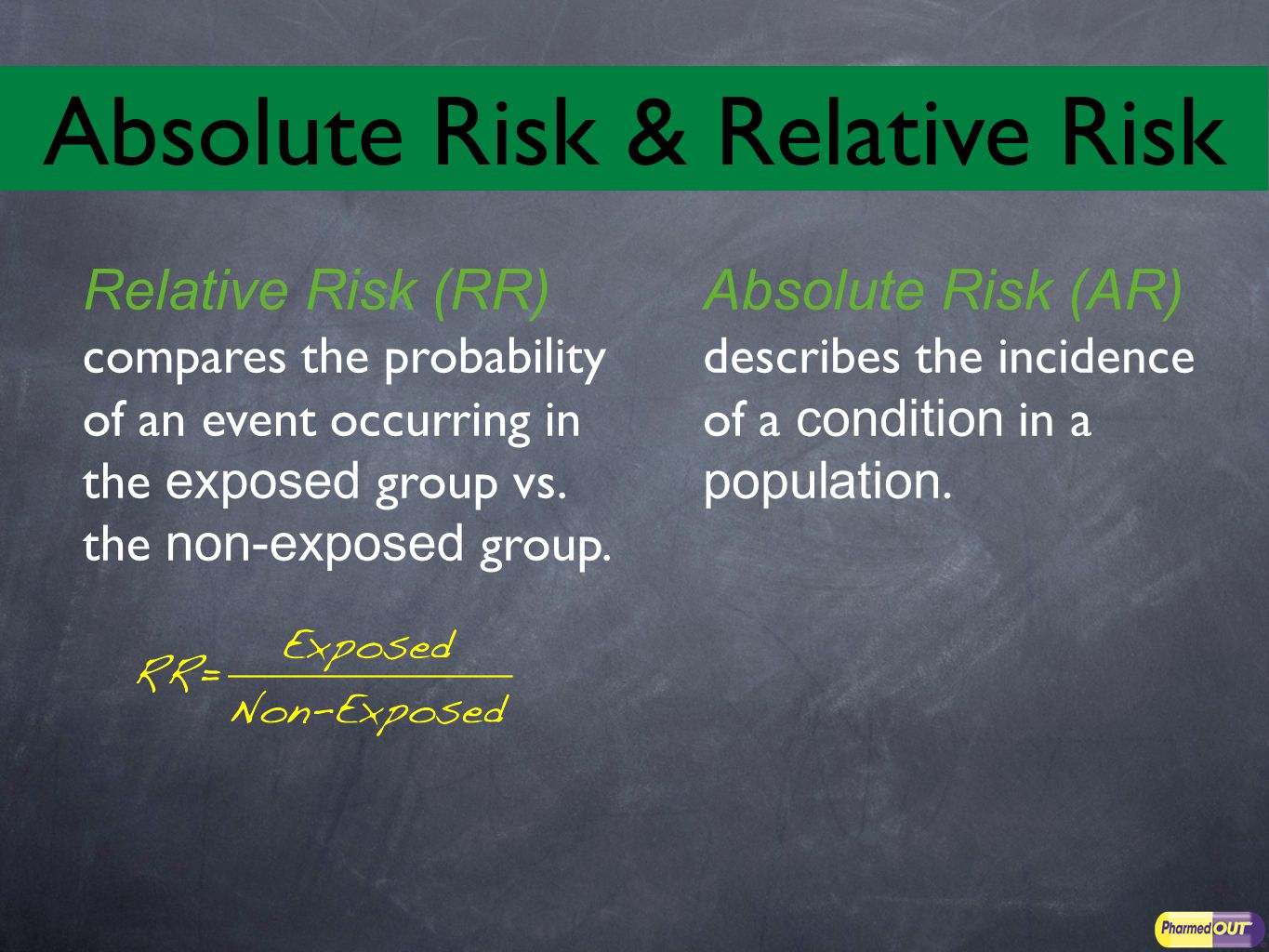 Relative Risk (RR) compares the probability of an event occurring in the exposed group vs.