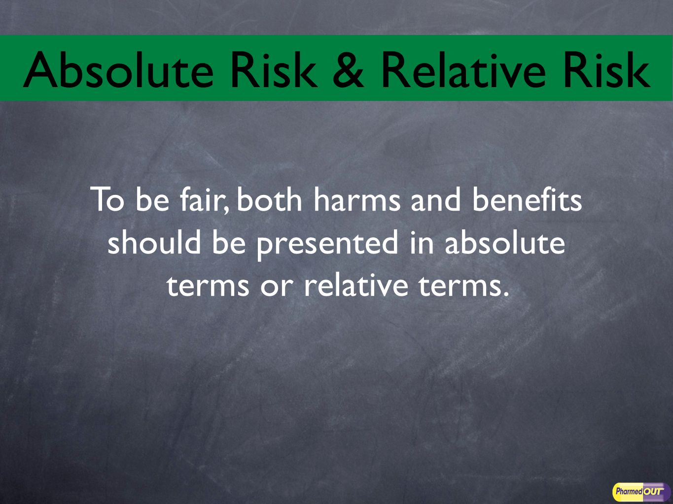 To be fair, both harms and benefits should be presented in absolute terms or relative terms.